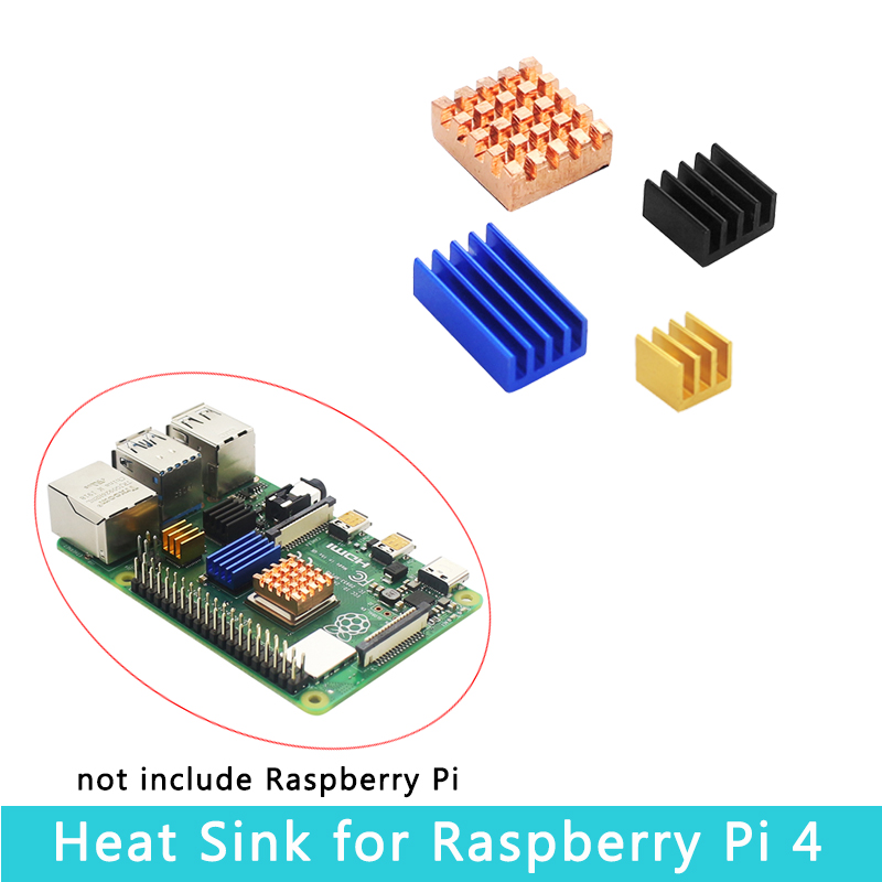 <font><b>Raspberry</b></font> <font><b>Pi</b></font> <font><b>4</b></font> <font><b>Model</b></font> <font><b>B</b></font> Heat Sink <font><b>4</b></font> piece Metal Aluminum Copper <font><b>Heatsink</b></font> with Self-stick Cooling Gel for <font><b>Raspberry</b></font> <font><b>Pi</b></font> <font><b>4</b></font> image