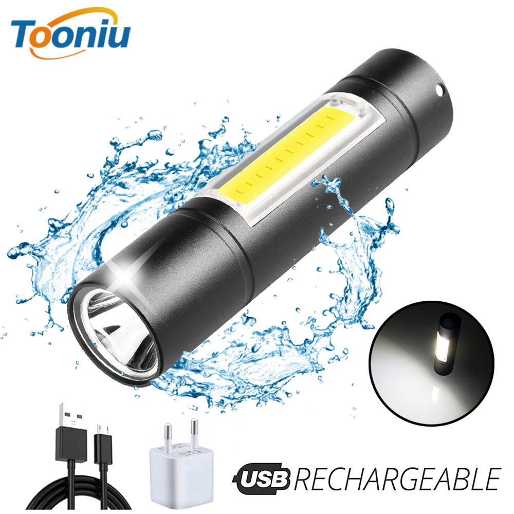USB Rechargeable Flashlight 3 Lighting Mode COB+XPE LED Mini Flashlight Waterproof Portable Used for camping, cycling, work, etc