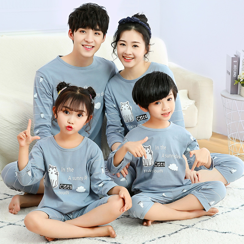 Mommy and Daughter Matching Outfits Pajamas Family Look Mother Daughter Son Homewear Animal Pyjamas Kids Mommy And Me Clothes 3