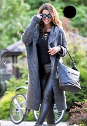 Women Long Cardigan Solid Knitted Hooded Sweater 2021 Autumn Winter Female Coat Plus Size 5XL Casual Streetwear Loose Coat 4