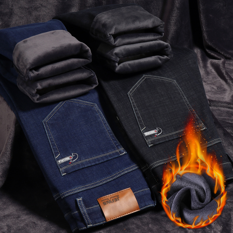 2019 Winter New Men's Thick Warm Jeans Large Size 40 42 44 Business Casual Stretch Denim Trousers Male Brand Pants Black Blue