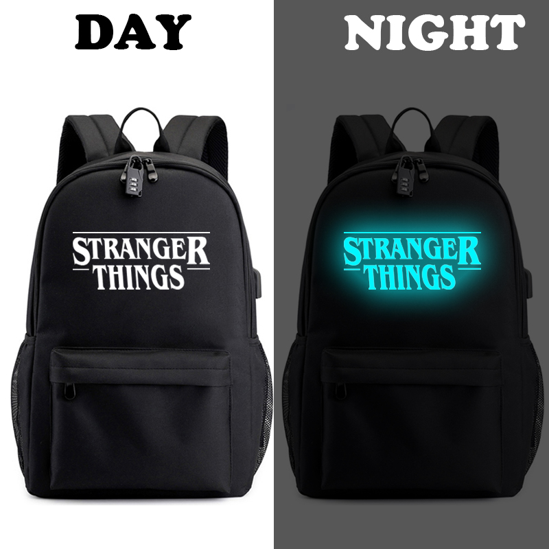 Image 2 - Stranger Things Teenage Backpack for Boys Girls Luminous School Bag USB charging Anti theft and Waterproof backpack for school-in Backpacks from Luggage & Bags