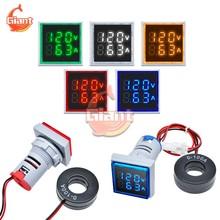 AC 60-500V Piazza LED Digitale A Doppio Voltmetro Amperometro 22 millimetri Tester di Tensione di Corrente Indicatore di Tensione di Misura Tester 110V 220V 10A