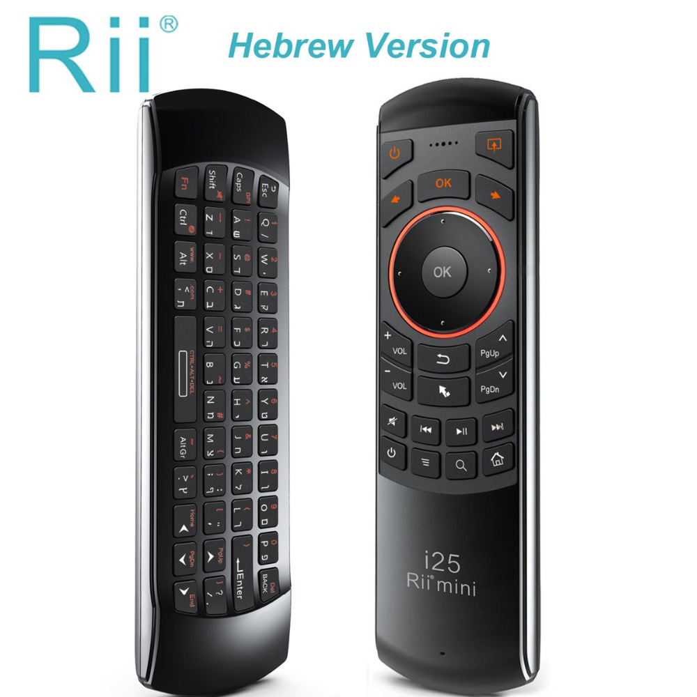 Hot selling Original Rii mini i25 2.4Ghz Air Mouse Remote Control with Hebrew Keyboard for Smart TV Android TV Box IPTV PC HTPC