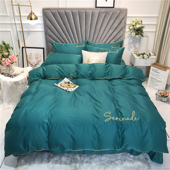 Wash Silky Soft Solid Color Bedding Set 4pcs/set Luxury Letter Embroidery Duvet Cover Set Bed Sheet Pillowcase Queen King Size