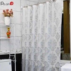 Image 1 - PEVA Stoff Dusche Vorhang mit Haken Wasserdichte Kunststoff Bad Bildschirme Geometrische Blumen Druck Umweltfreundliche Bad Vorhänge
