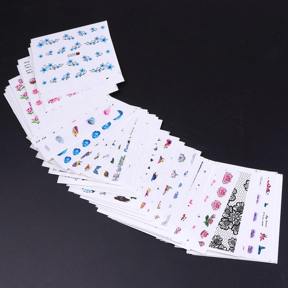 50 листов наклейки для ногтей наклейки Животные для ногтей Водные Наклейки цветочный дизайн Обертывания для ногтей переводная фольга для ук...