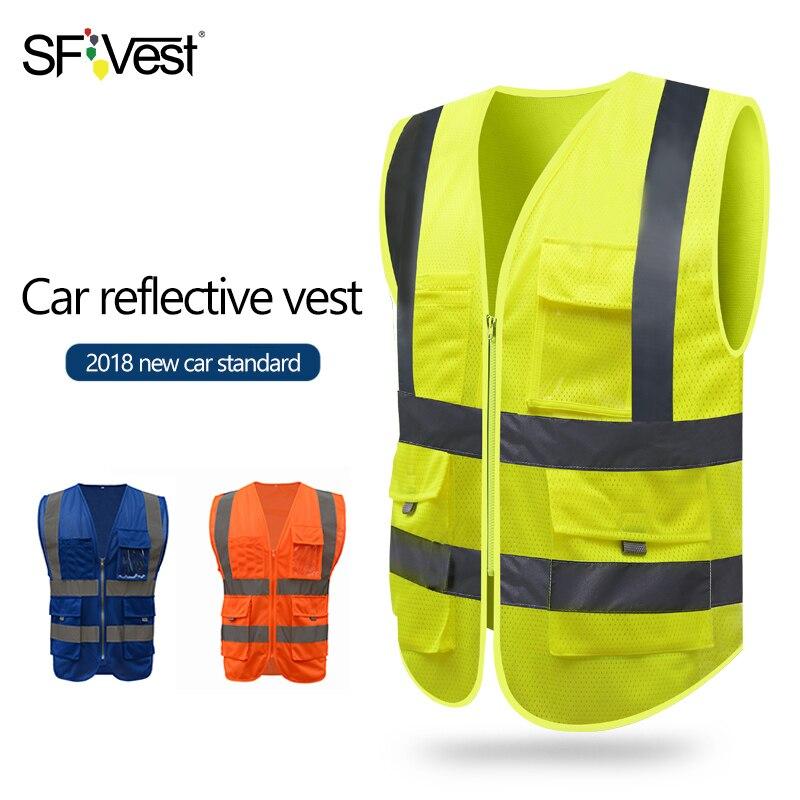 SFvest HI VIS VIZ EXECUTIVE VEST HIGH VISIBILITY Reflective Mesh Vest Multi-pocket Safety Vest With Reflective Stripes Mesh Vest