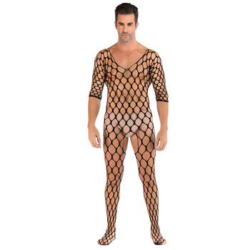 Erotic Men's Sexy Fishnet Bodystocking Jumpsuit Stockings Crotchless Lingerie Set Open Crotch Cosplay Gay Transparent Bodysuit image