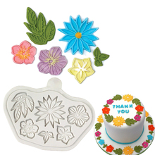 Leaves Flowers Silicone Mold Cake Decorating Tool Fondant Molds Cupcake Decoration Tools Christmas Sugar Cutter