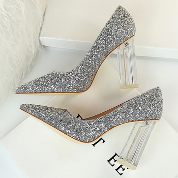 2020 Women 10cm High Heels Glitter Scarpins Gold Silver Block Clear Heels Pumps Lady Wedding Bridal Transparent Chunky Shoes