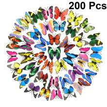 200pcs 3D Butterfly Ornaments Lifelike Insect Models Wall Sticker Magnet PVC Butterflies Party Kids Bedroom Fridge Decoration(China)