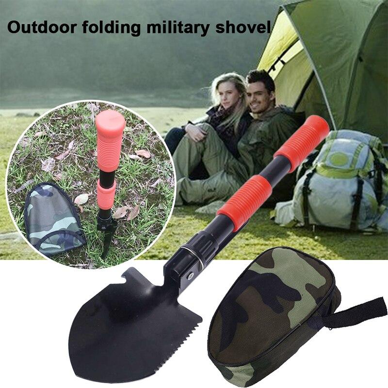 Practical Multifunctional Shovel Folding Shovel Black Red Tree Planting Equipment Camping Outdoors Engineer Shovel Durable