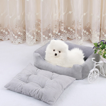 Pet Dog House Stripe Printed Cat Bed with Soft Dog Mat Pet Nest Puppy Cushion Mat Pet Product Accessories image