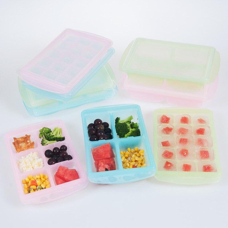 Ev ve Bahçe'ten Suya Dayanıklı Plastik ve Plastik Çantalar'de Rreplus bebek tamamlayıcı gıda kapaklı kutu donma depolama tazelik kutusu aperatif kutusu buz kalıbı title=