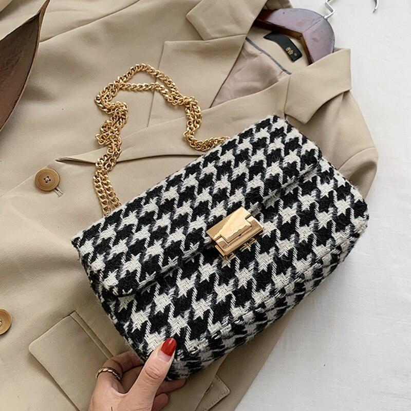Модная сумка через плечо из шерсти и искусственной кожи с узором «гусиные лапки», маленькая сумка, роскошные сумки, женские сумки, дизайнерские сумки, сумки через плечо для женщин|Сумки с ручками|   | АлиЭкспресс - Аналоги сумок с показов мод осень-зима 2020/21