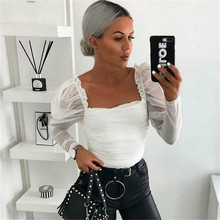 Shirt Mesh Puff Sleeve Ruched Tops Blouse SF