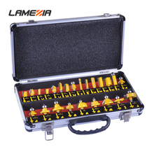 LAMEZIA 24pcs/set 6.35mm Handle Milling Cutter Set Carbide Woodworking Cutting Drilling Bit Kit Power Tool Accessories