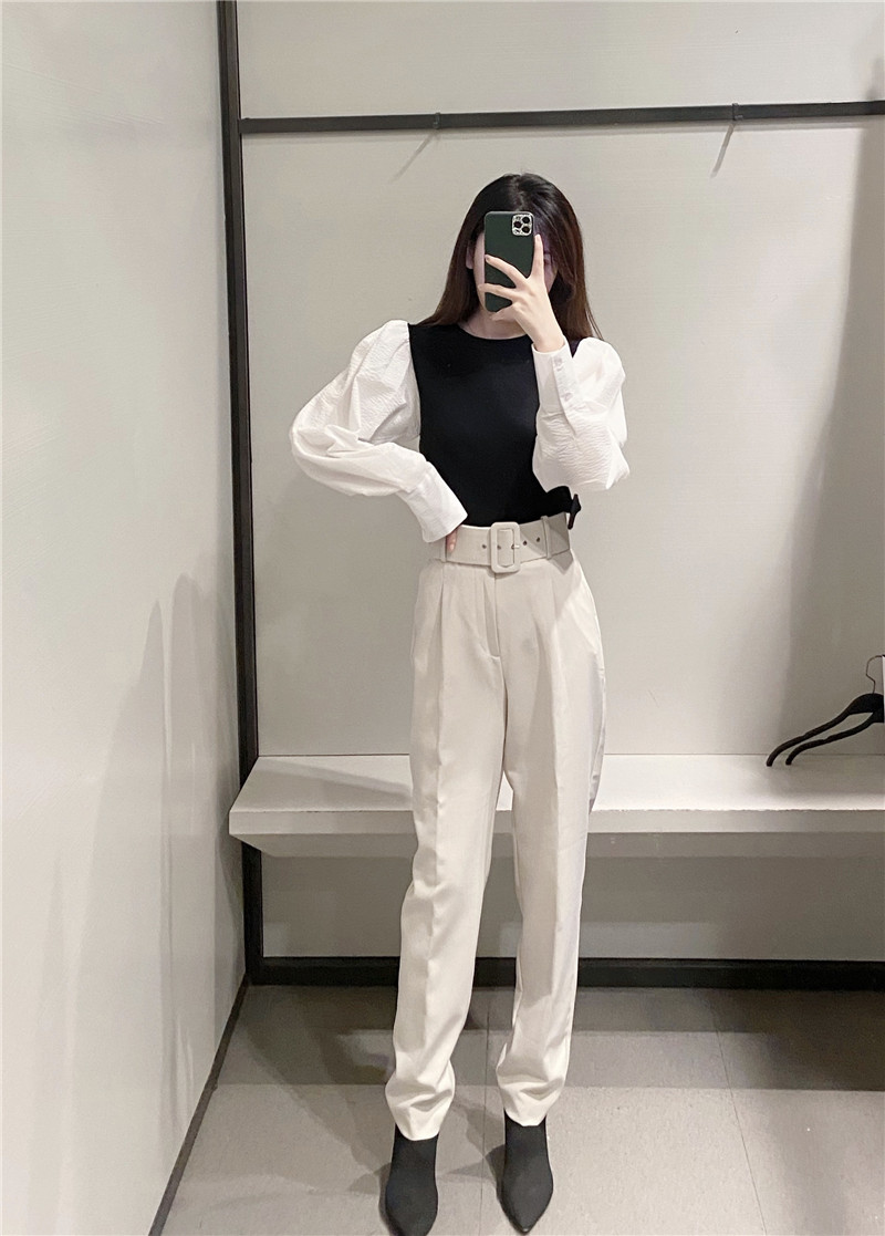H60354628ebce4e04b4fcc18d8a6d681dS - Office Lady Black Suit Pants With Belt Women High Waist Solid Long Trousers Fashion Pockets Pantalones FICUSRONG Pencil