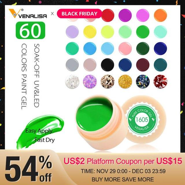 Venalisa UV Gel nouveau 2019 ongles Art conseils conception manucure 60 couleur UV LED imbiber peinture pour travaux manuels Gel encre UV Gel vernis à ongles laque