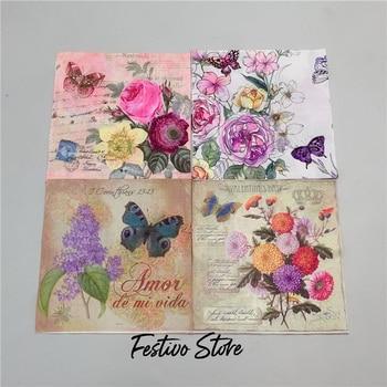 Napkins Elegant Tissue Vintage Towel Flower Butterfly Stamp Birthday Wedding Party Home Decoration