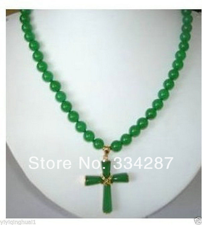8mm Green Jade Cross Pendant Necklace 18
