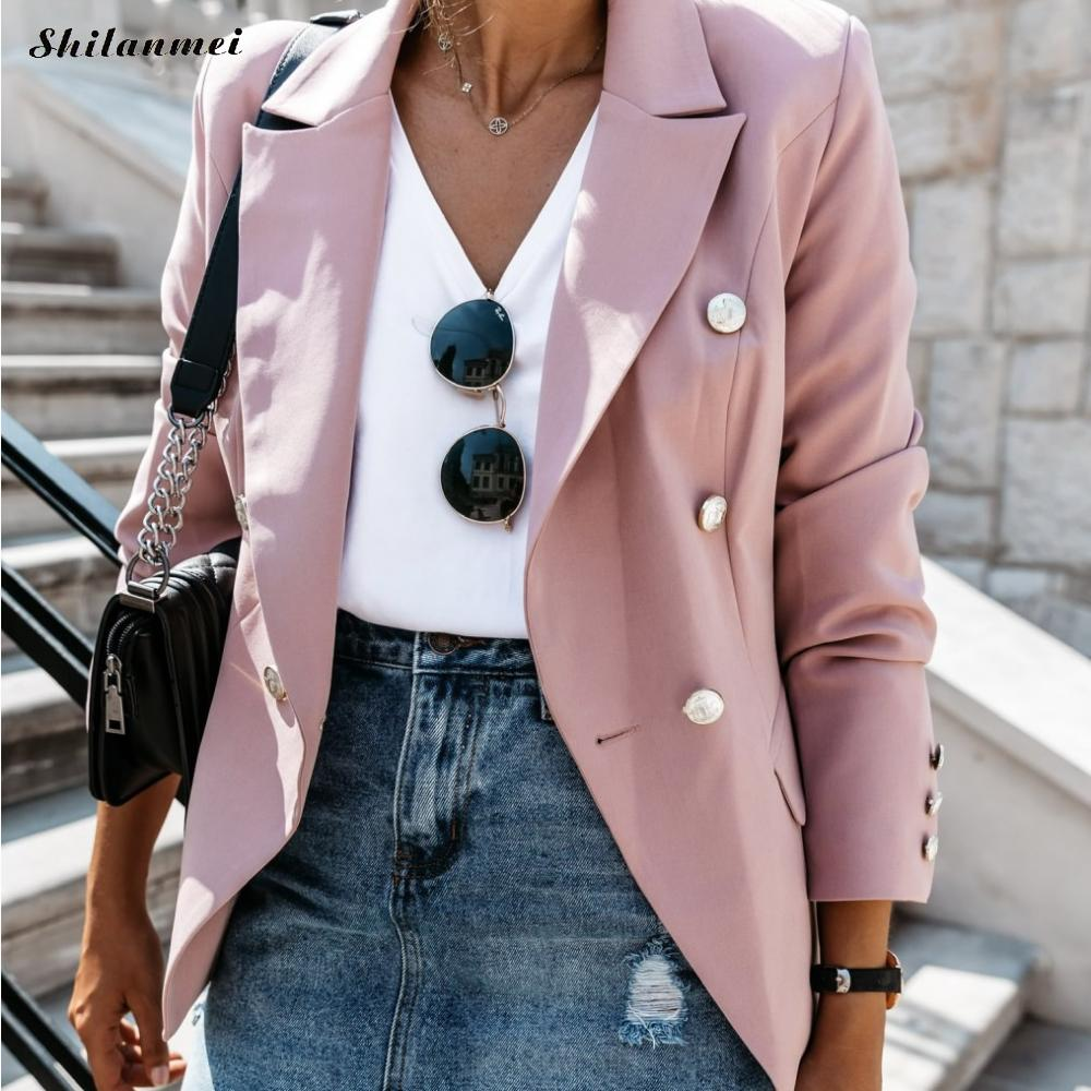 Autumn Office Lady Work Suit Women Solid Blazers And Jackets Button Slim Elegant Casual Female Blazer Coat 3xl 2019 Trendy