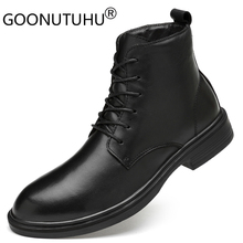 2019 winter fashion men's boots military casual shoes genuine leather cow boot black plus size shoe man work ankle boots for men цены онлайн