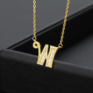 Zircon A-Z Letter Pendant&Necklace For Women Crystal 26 Initial Alphabet Gold Chain Necklaces Cubic Zircon Hip Hop Jewelry BFF