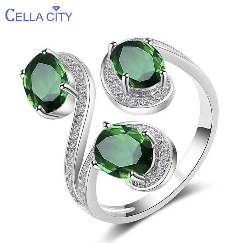 Cellacity Flower Silver 925 Jewelry Oval Shaped Gemstones Ring For Women Emerald Sapphire Citrine Geometry Opening Adjustable