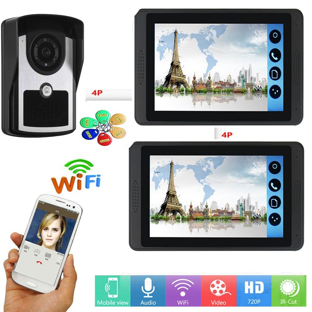 RFID Access Control Video Intercom 7 Inch Monitor Wifi Wireless IP Video Door Phone Doorbell Intercom Camera System Android IOS