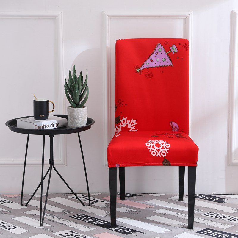 Spandex red dining room chair covers - Christmas print