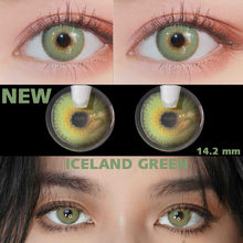 Lentilles de Contact vertes annuelles de la série islande, 1 paire de lentilles de Contact avec le changement de couleur des yeux gris, 2 pièces