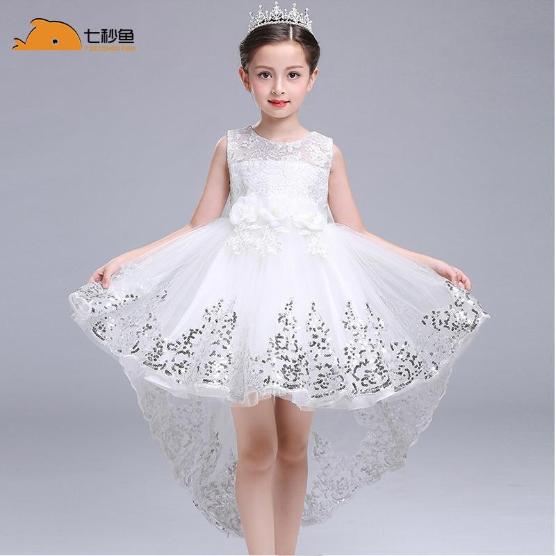 Girl  Summer Dress White Princess 3-14 Years Girl Party Dress Robe Fille  Kids Brand Vestidos Prom Dresses