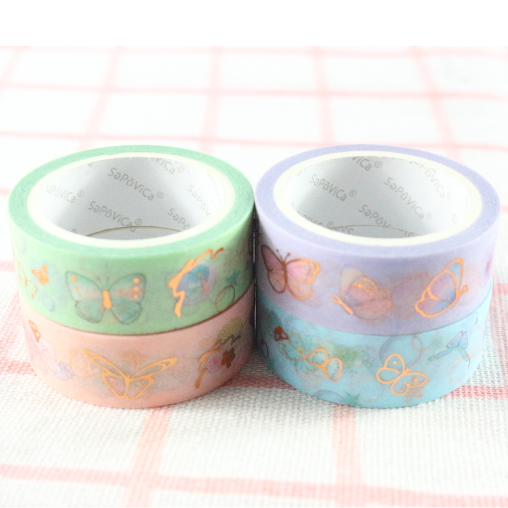 Domikee Cute Kawaii Korean Decorative Butterfly Gold Foil Washi Tape School Student Kids Diary Journal Masking Tape Stationery