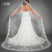 E JUE SHUNG One Layer Wedding Veils Lace Appliques Edge Ivory Long Cathedral Bridal Veil Wedding Accessories Voile Mariage