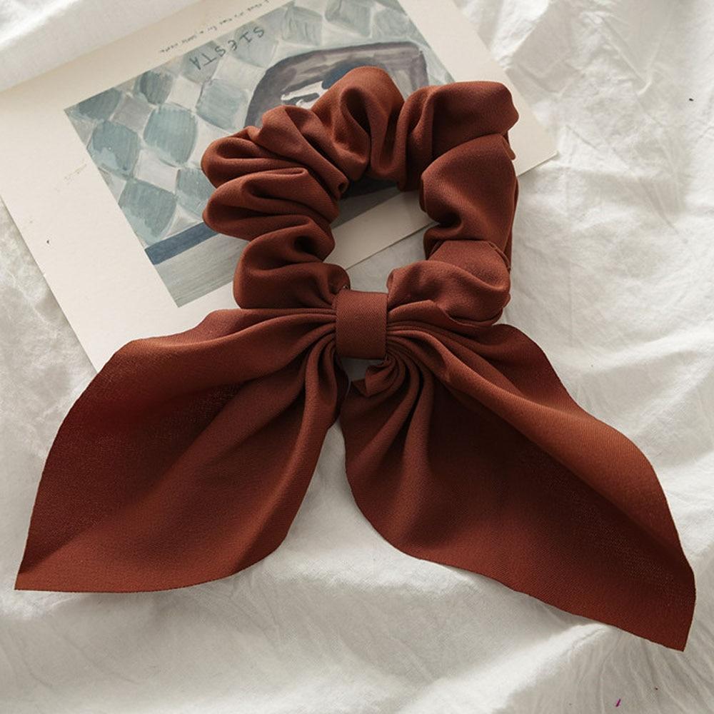 Новинка, шифоновые шелковые резинки для волос с бантом, женские жемчужные резинки для волос, резинки для волос, аксессуары для волос - Цвет: Brown