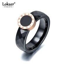 Lokaer – bague en forme de chiffres romains pour femme, bijoux de mariage, couleur or Rose, céramique, titane, acier, R17159