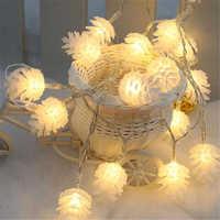 Decoraciones de Navidad para el hogar cálido cono de pino blanco cuerda luz lámpara Navidad 2019 decoración de Año Nuevo 2020 ornamento de Navidad ¡Q
