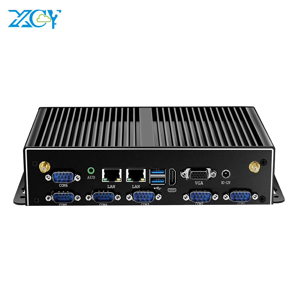 XCY Mini PC Intel Core I7 5500U 2*DDR3L 2*LAN 6*RS232 6*USB HDMI VGA WiFi 3G/4G Module Fanless Industrial Computer Windows Linux