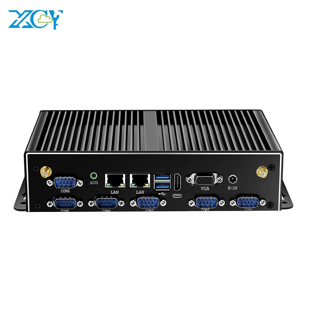XCY Mini PC Intel Core I7 5500U 2*DDR3L 2*LAN 6*RS232 6*USB HDMI VGA WiFi 3G/4G Module Fanless Industrial Computer Windows Linux