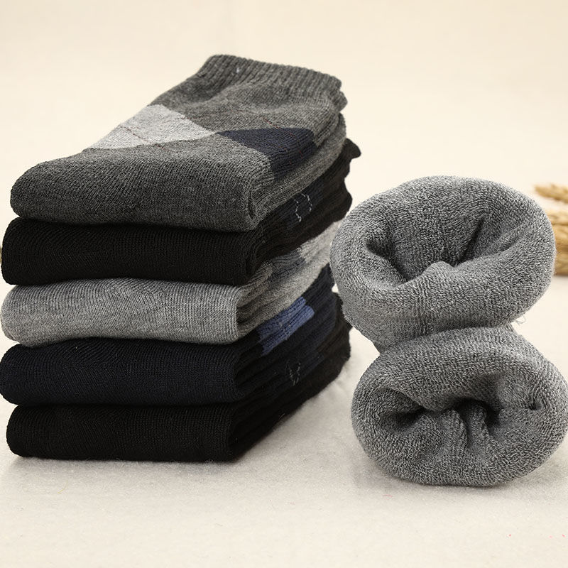 5pair/lot Super Warm Men's Winter Thick Wool Socks Thermal Terry Socks Gifts For Men