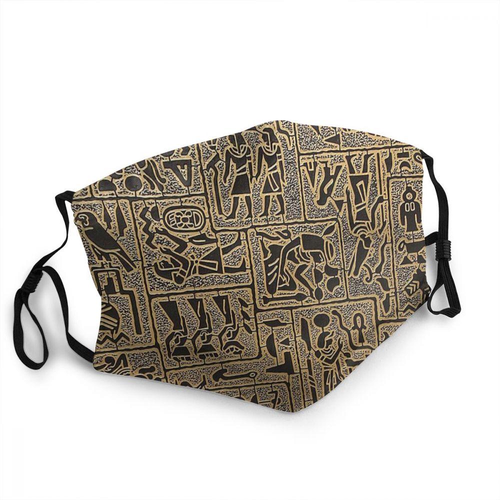 Símbolos hieroglíficos máscaras de proteção mitologia egípcia antigo egito deuses atum horus osiris reutilizável moda mascarilla