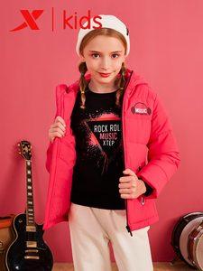 Image 1 - Xtep модные пуховики с капюшоном для девочек, детские повседневные однотонные теплые пальто на молнии, Детские плотные пальто 682424189047