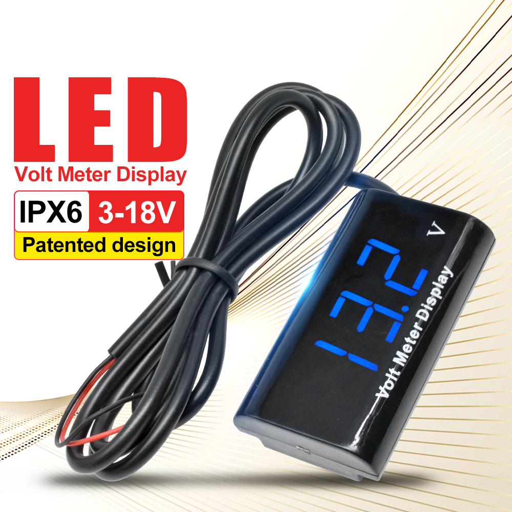 0.56 Inch IPX6 Waterproof Digital LED Voltmeter Mini DC 3-18V For Auto Car Electric Motorcycle Voltage Meter Volt Tester 5V 12V