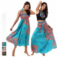 Japanese Japan Bohemia Dress Floral Two Style Wear Dress or Skirts Traditional Style Asian Clothes Folk Thai Dress Thailand
