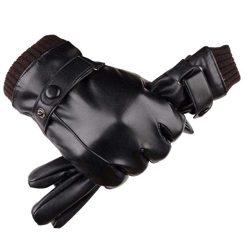 Winter Men's Leather Gloves Touch Screen Windproof Keep Warm Driving Guantes Male Autumn And Winter Leather Gloves Black