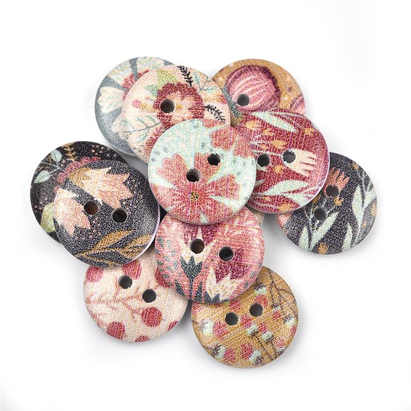 10 Natural Light Wood Buttons 15mm Sewing Scrapbook Crafts