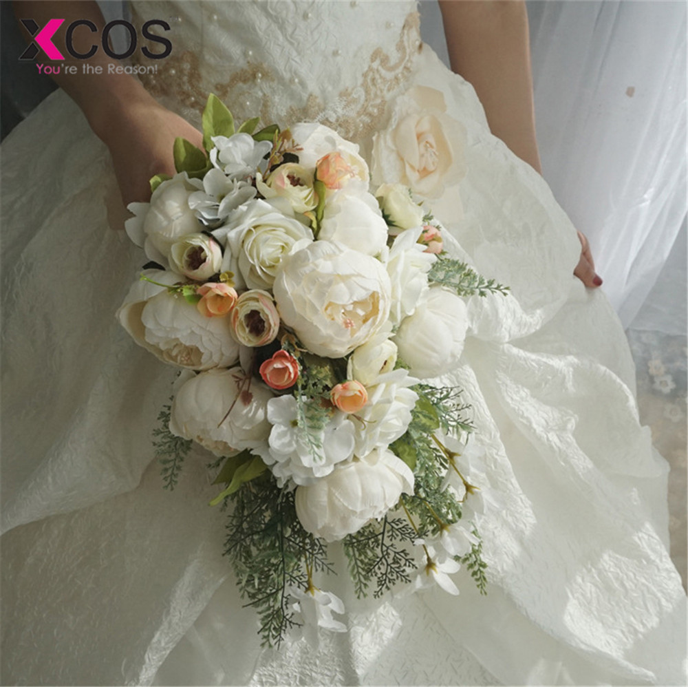 XCOS 2019 New 4 Styles Water Drop Waterfall Elegant Wedding Bouquet Artificial Carla Rose Bridal Bouquet White Bouquet Mariage