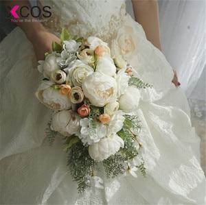 Image 1 - XCOS 2019 Nuovo 4 Stili di Acqua Goccia Cascata Elegante Bouquet Da Sposa Artificiale Carla Rosa Bouquet Da Sposa Bouquet Bianco Mariage
